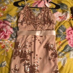 Rose gold mini backless dress
